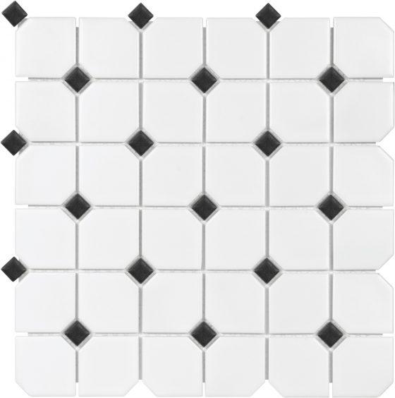 2x2 White w/Black Dot Matte