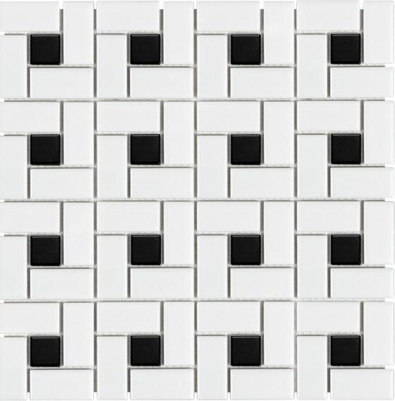 White w/Black Dot Matte Pinwheel