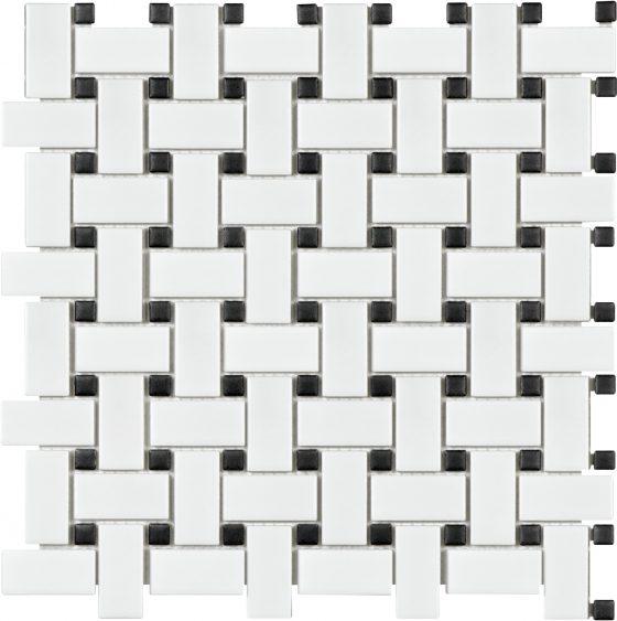 White w/Black Dot Basketweave Matte