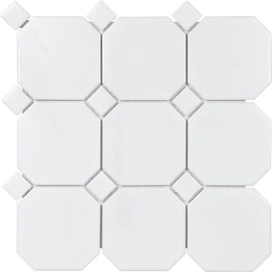 """4"""" White Octagon Matte"""