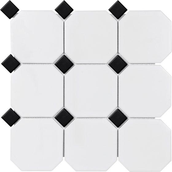 """4"""" White Octagon w/Black Dot Matte"""