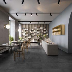 Dark (Floor), Concrete (Wall/Food Counter)